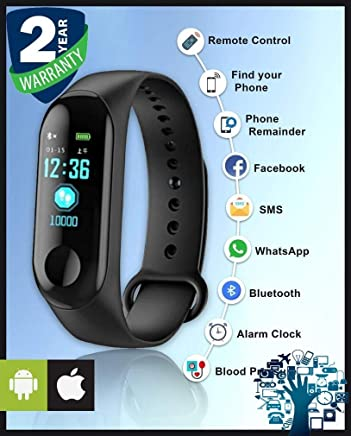 Priish® Branded M3 Smart Watch Band Waterproof Strap Fitness Sleep Tracker Watch Heart Rate with Activity Tracker Pedometer Waterproof Body Functions Like Steps Counter, Calorie Counter, Blood Pressure, Heart Rate Monitor for Men & Women (Guarantee & 100%