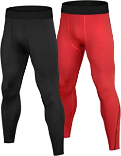 Outto Men's Running Tights Baselayer Leggings Compression Spandex Pants 2 Pack