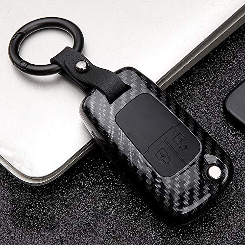 ontto 2 Taste Klapp Autoschlüssel Hülle Abdeckung für Opel Astra J Corsa Mokka Meriva Insignia Chevrolet ABS Silikon Schlüsselhülle Schlüsselanhänger Schlüsselbox Schlüsselschutz-Kohlefaser Schwarz