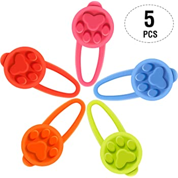 5 Pieces Silicone Dog Collar LED Light, Dogs and Cats Spotlights Flashing Blinker Waterproof Clip-On Pet Safety Night Walking Lights, Button Batteries Included (Classic Color Style)