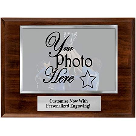Crown Awards Photo Frame Plaque - 10x8 Customized Photo Plaque Award with Your Own Engraving, Great Coach Gift, Team Gift