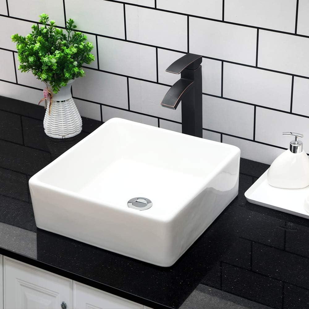 Vessel Sink Topmount Kichae 15 X15 Bathroom Vessel Sink Rectangle Above Counter White Porcelain Ceramic Vessel Vanity Sink Art Basin Amazon Com
