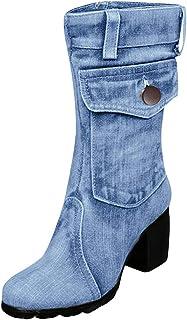 Donna Stivali Scarpe Tacco Allungare Alto Alto e Tacco Medio