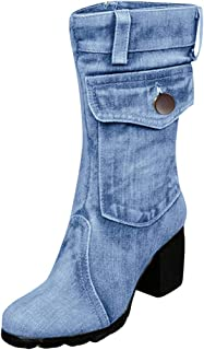 〓COOlCCI〓Cowgirl Boots for Women,Pointed Toe Side Zipper Mid Heel Boots Mid-Calf Boots Chunky Heel Shoes Ankle Booties