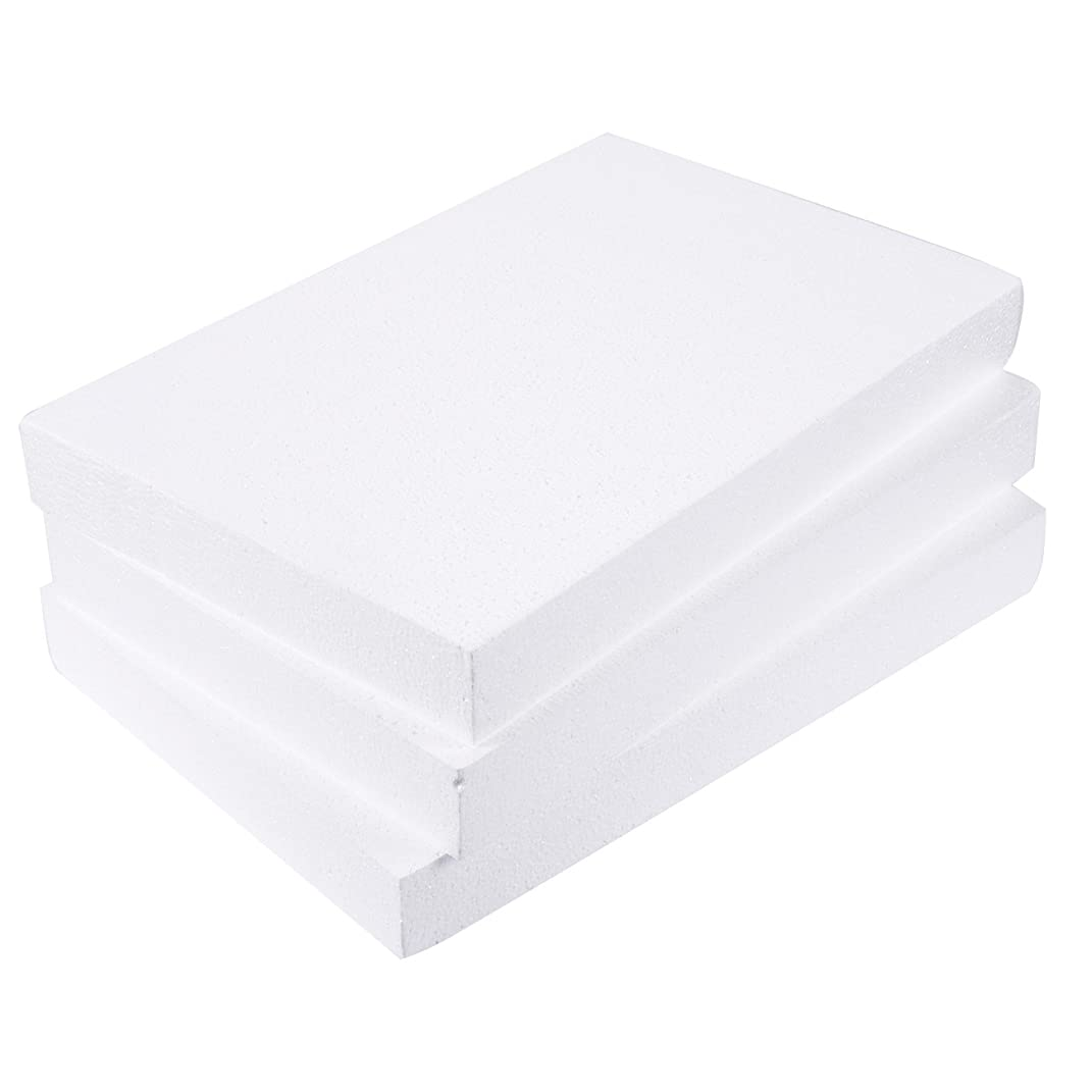 Craft Foam Block - 3-Pack Rectangle Polystyrene Smooth Foam Brick - for Sculpture, Modeling, DIY Arts and Crafts - White, 17 x 11 x 2 Inches