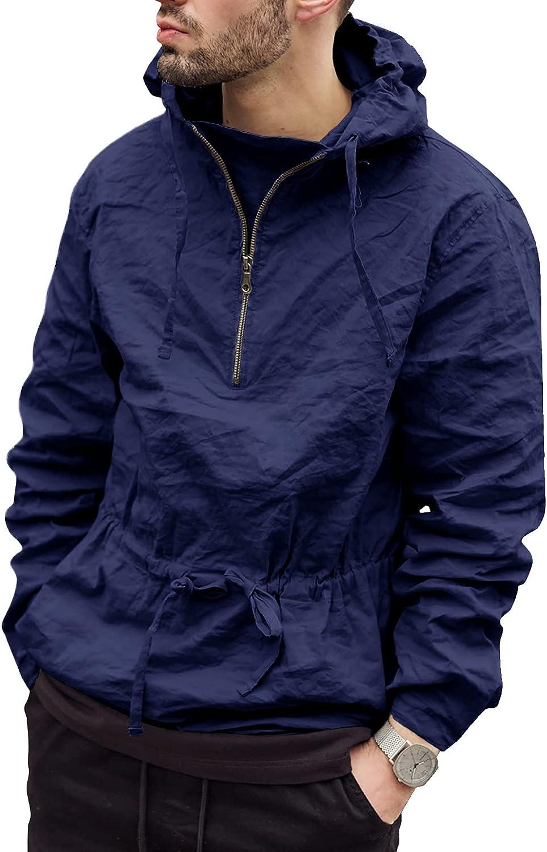 Mens Rain Jacket 1/4 Zip Hoodies Pullover Lightweight Waterproof Raincoat Windbreaker Outdoor Workout Hooded Jacket