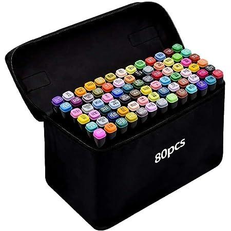 TongfuShop 80 Coloré Graffiti Pen Oily Mark Colors Marker Set, Twin Tip Highlighter Graffiti Pens for Sketch Marker Pens Set With