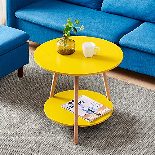 2-Tier Wood End Table with Storage Shelf, Modern Round Living Room Sofa Side Table for Balcony Garden Small Spaces, Portable Coffee Table Tea Table, Bedroom Nightstand Bedside Table, Yellow