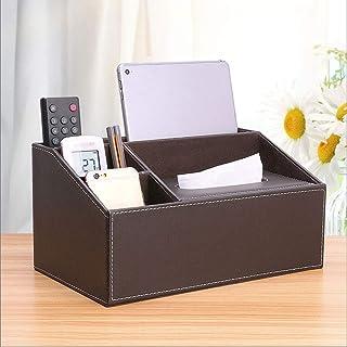 WPL Bocal en Verre Bureau Container Boîte de Rangement en cuirette Bureau Organisateur Pen Crayon Télécommande Téléphones ...