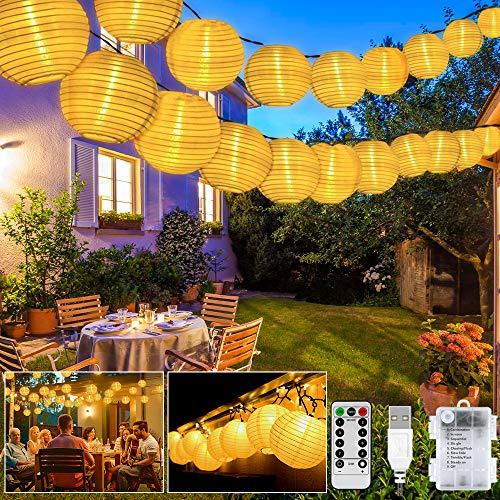 Guirnaldas Luces Farolillos, 8 modos 20 LED Iluminación de Exterior Farolillos, Impermeable...
