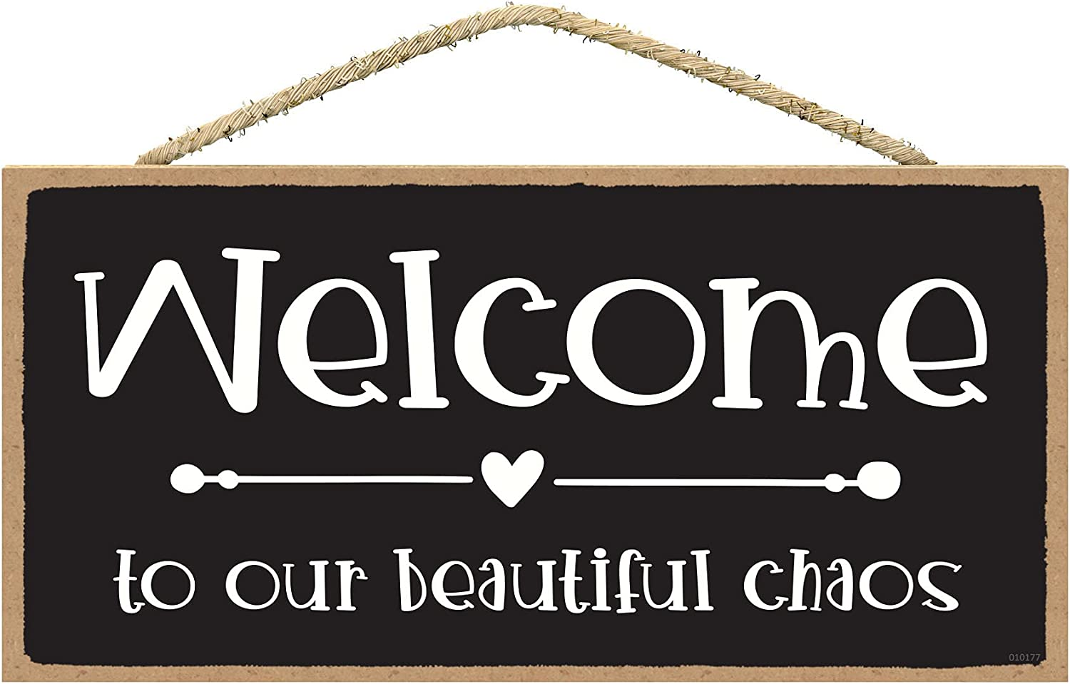SARAH JOY'S Welcome to Our Beautiful Chaos Sign - Funny Signs for Home Decor - Funny Room Decor - Hanging Signs for Home Decor Wall 5x10 Inch
