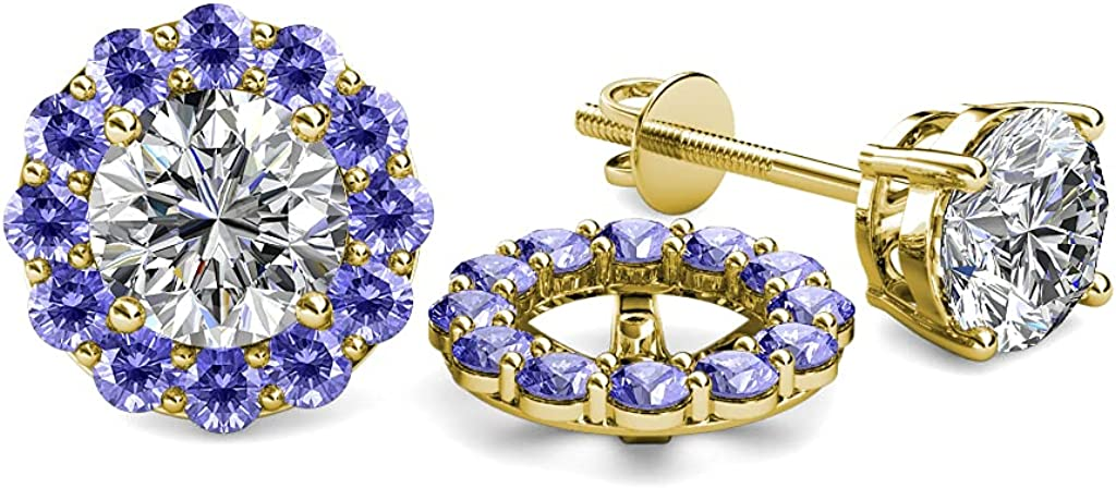 TriJewels Round Tanzanite Halo Jacket for Stud Earrings 5/8 ctw 14K Yellow Gold