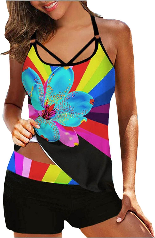 Sayhi Plus Size Swimwear for Women,Print Strappy Back Tankini Set Two Piece Swimsuits Swimdress