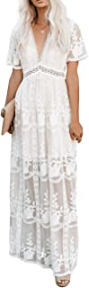 Ecosunny Women's Deep V Neck Short Sleeve Floral Lace Bridesmaid Maxi Dress Party Gown