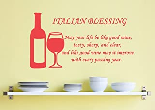 ValueVinylArt Italian Blessing- May Your Life Be Like Good Wine. Wall Decal (Red, 28