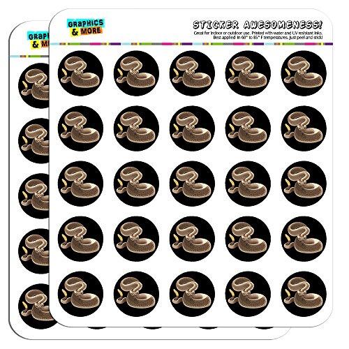 "Rattlesnake Venomous Snake 1"" Planner Calendar Scrapbooking Crafting Stickers - Clear"
