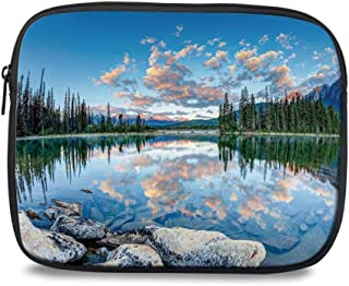 Nature Decor Durable iPad Bag,Long View of Golden Sunrise Skyline at Pyramid Lake Tranquil Canadian Scenery for iPad,10.6