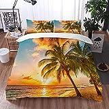 Bedding Juego de Funda de Edredón -Hermosa puesta de sol sobre el mar Palmeras en la playa blanca en una isla caribeña de Barba/Microfibra Funda de Nórdico (Cama 220 x 240 cm + Almohada 50X80 cm)