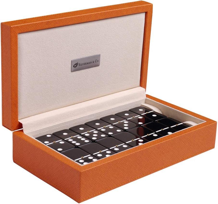 Silverman Co. Double Inexpensive 6 Large Black Domino Case Orange Set Inexpensive -