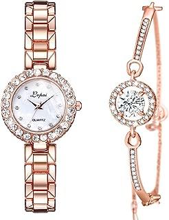 ManChDa Luxury Ladies Watch Iced Out Watch with Quartz Movement Crystal Diamond Classic Fashion Romantic + Jewelry Cuff Bracelet Set