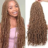 Leeven 24 Inch Messy New Faux Locs Crochet Braids Hair 1 Pack Light Brown...
