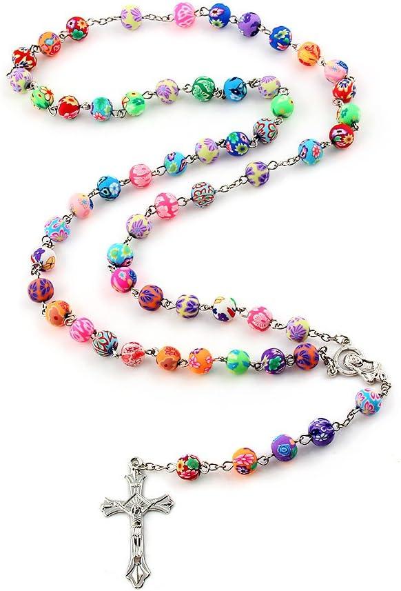 YEYULIN Polymer Clay Bead Rosary Long Necklace Alloy Cross Virgin Christian Catholic Jewelry for Women