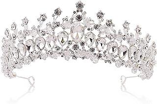 Corona, Accessorio for Capelli da Sposa Abito da Damigella d'Onore Femminile Copricapo di Cristallo Oro (Color : Silver)