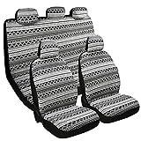 Baja Seat Covers Full Set,Stripe Saddle Blanket Cloth,Boho Bucket Seat Decor for Cars & Vans,Black (Z-004BLACK)