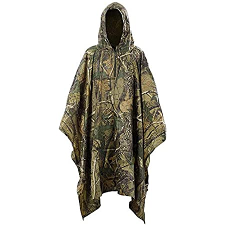 Haolgo Waterproof Rain Cape,Multifunctional Rain Poncho for Outdoor Activities, Camouflage Raincoat Hooded Poncho Rain Jacket for Camping Cycling Hiking