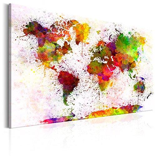 murando Tablero De Corcho & Cuadro en Lienzo 120x80 cm No Tejido XXL Estampado Memoboard Decoración De Pared Impresión Artística Fotografía Gráfica Poster Mapamundi Mapa del Mundo - k-B-0018-p-a