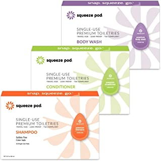 Squeeze Pod Travel Size Toiletry Set - 30 Single Use Pods - Leak Proof, TSA Approved, 10 Each of Shampoo, Conditioner & Body Wash made with Natural Ingredients - For Traveling, Camping & Hiking (SBWC)