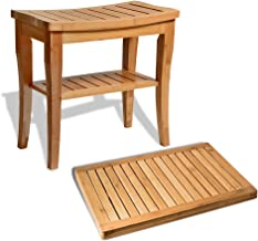 Bamboo Bathroom Bench with Bath Floor Mat - 100% Natural Bamboo Shower Seat Bench and Shower Floor Mat for Indoor and Outdoor Decor