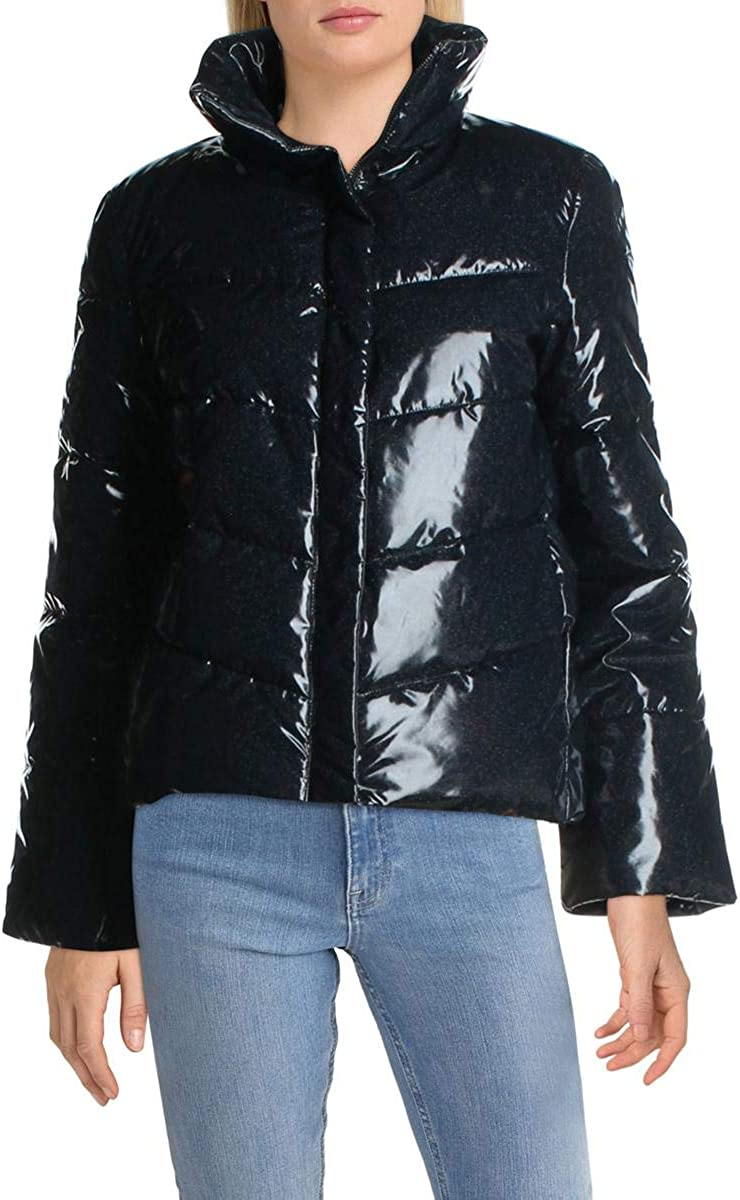 Betsey Johnson Womens Betsey's Best Quilted Glitter Puffer Jacket Navy S