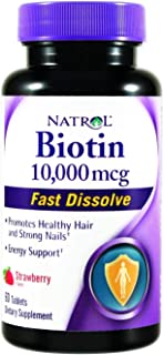 Natrol Biotin Fast Dissolve Tablets, 10, 000 mcg, 60 Tab. Pack of 2