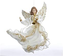 Kurt Adler Ivory And Gold Flying Angel With Trumpet Holiday Ornament