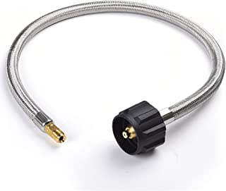 SHINESTAR 24inch Pigtail Stainless Braided RV Propane Hose Connector with Type 1 Connection - Acme Nut x 1/4 Inch Inverted Male Flare- 2 feet