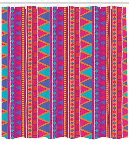 ABAKUHAUS Psychedelisch Duschvorhang, Tribal Zickzack, mit 12 Ringe Set Wasserdicht Stielvoll Modern Farbfest & Schimmel Resistent, 175x200 cm, Mehrfarbig