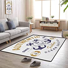 Patio Mat Authentic Nautical Print with Anchor Lifeboys and Rudder Captain Features 5'x7' Large Carpets for Living Room