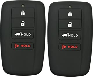 2Pcs Coolbestda Rubber 4buttons Smart Key Fob Full Protector Remote Skin Cover Case Keyless Jacket for Acura RLX RDX MDX ILX TLX Black