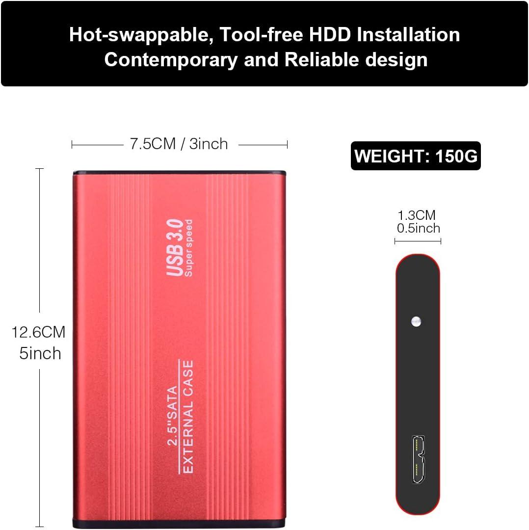 2To,Noir USB 3.0 Ultra Fin Tout-Aluminium Stockage HDD pour PC,Xbox One,Desktop Laptop Chromebook. Disque Dur Externe 2to