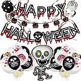KELEQI Fiesta de Halloween Decoración Set, Banner de Halloween, Blanco y Negro Globos Impresos, Globo Bat, Que cuelga del Remolino, Cinta de Fiesta de Halloween