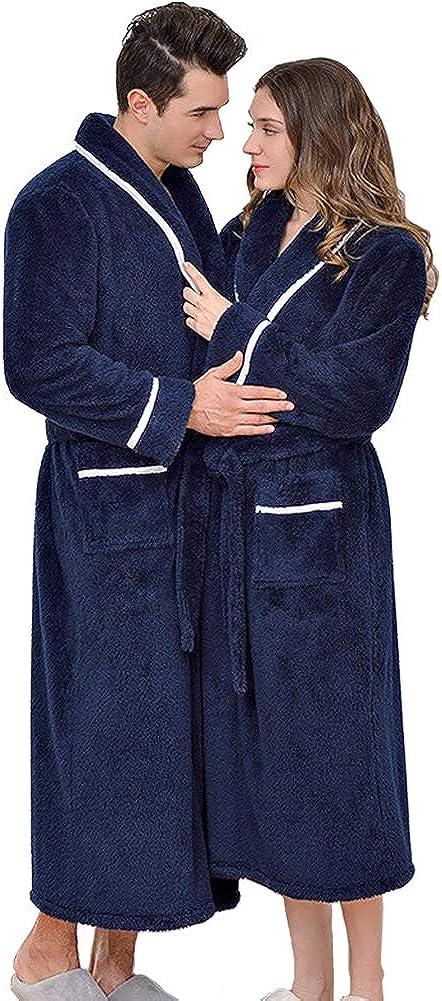 Michealboy Warm Fannel Bathrobe Long Sleepware Winter Spa for Men and Women