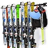 Porte-Skis Support Rangement de Ski Mural Amovible et Assemblage Flexible pour 10 Paires de Skis...