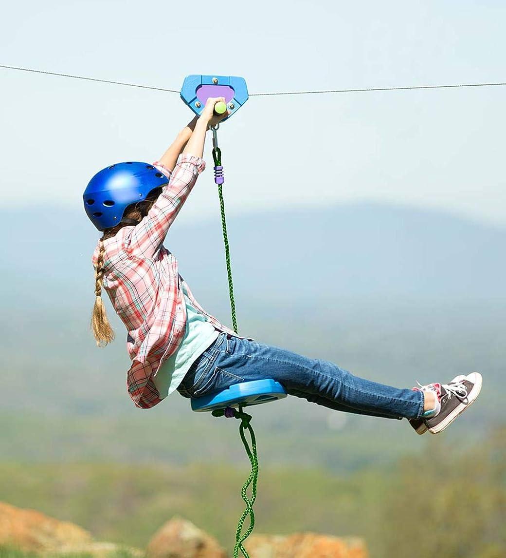 HearthSong 150' Blue Backyard Zipline Kit Kids Holds 250 lbs Adjustable Seat Non-Slip Handles Rubber Brake Hanging Hardware Playground Equipment Outdoor Play
