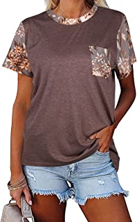 Women's Short Sleeve Tunic Tops Solid Color T Shirt...