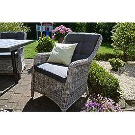Bomey Como Ensemble de 6 fauteuils de jardin en rotin avec coussins Gris + fauteuil de jardin avec coussins Gris I…