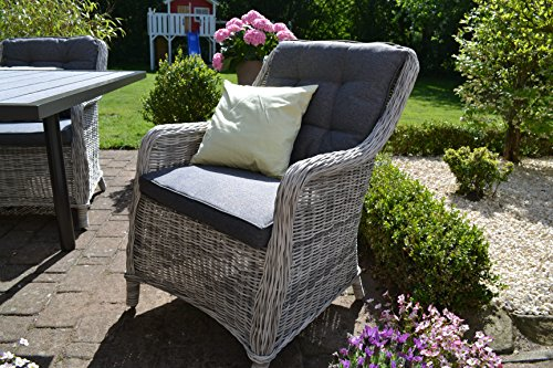 bomey Rattan-Sessel Set mit Polstern I Gartenmöbel Set Como 6-Teilig I Sechs Gartensessel Grau + Polster Grau I Lounge Sessel für Garten + Terrasse +...