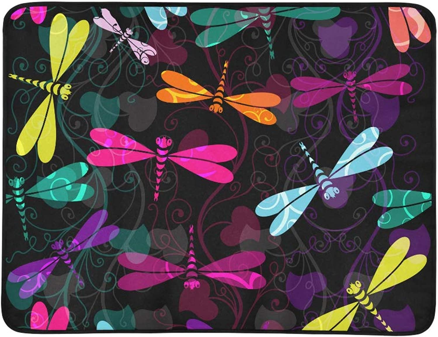 colorful Dragonflies and Translucent Vintage Curls Pattern Portable and Foldable Blanket Mat 60x78 Inch Handy Mat for Camping Picnic Beach Indoor Outdoor Travel