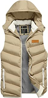 Jueshanzj Men's Waistcoat with Removable Hat