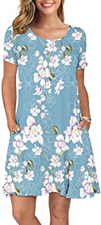 KORSIS Women's Summer Casual T Shirt Dresses Short Sleeve Swing Dress with Pockets
